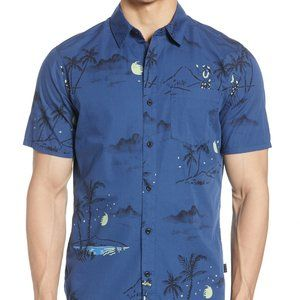 NWT! Hurley Hula Ditsy Short Sleeve Button-up Shir